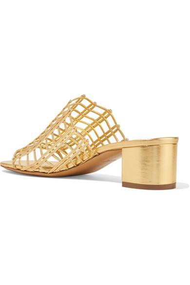 1bd92ce758bfb Mansur Gavriel Grid Metallic Leather Cutout Block-Heel Mule Slide Sandals  In Gold