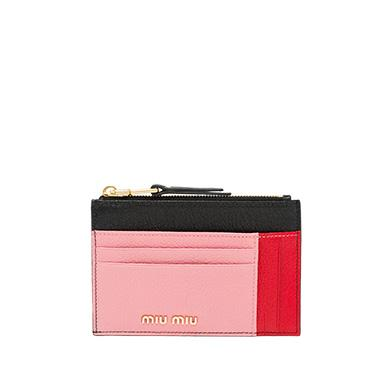 5e41b26fe19c Miu Miu Madras Leather Card Holder In Black Rose