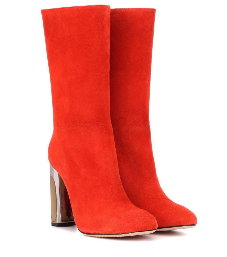 Alexander Mcqueen Mirror Heel Suede Boots In Red