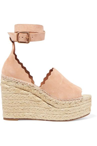 8d1160b4780 ChloÉ Lauren Scalloped Suede Espadrille Wedge Sandals