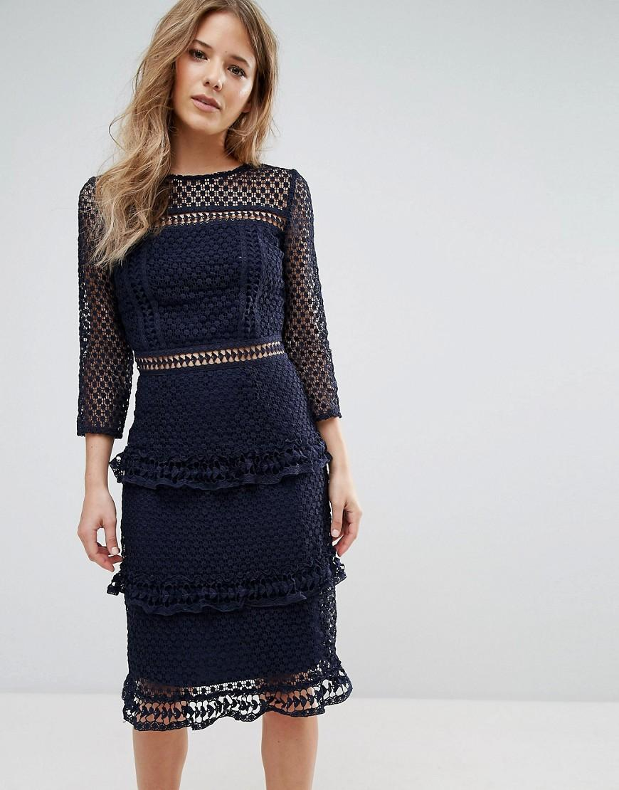 Layered Lace 34 Sleeve Midi Dress Navy