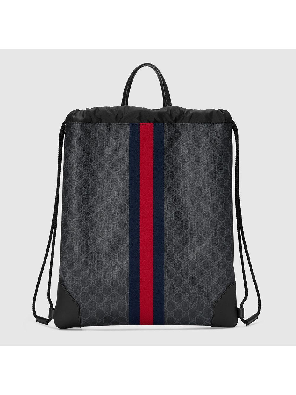 b3b1b5d985f Gucci Soft Gg Supreme Drawstring Backpack In Black