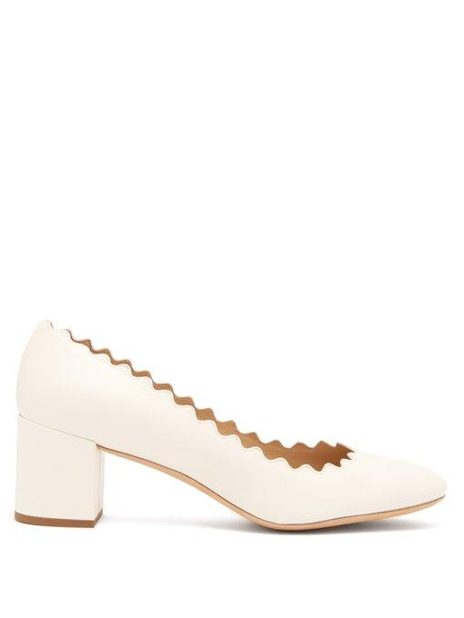 30c2aaf111a ChloÉ Lauren Scallop-Edge Leather Pumps In White