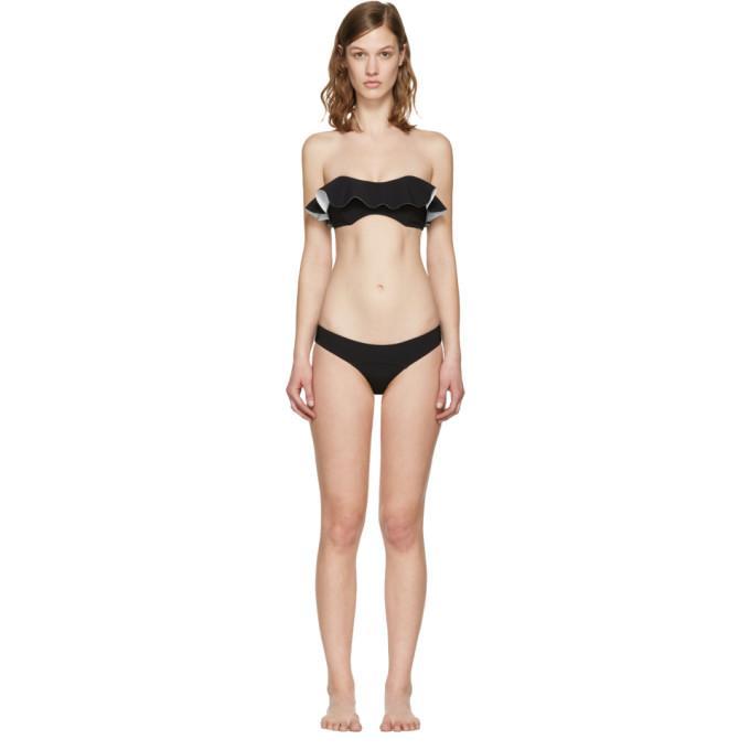 fc5d1a050e6ee Lisa Marie Fernandez Black Natalie Flounce Bikini In Black/White Bonded
