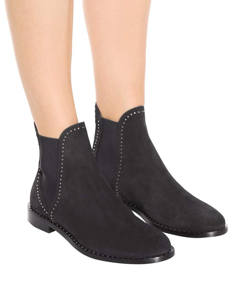 513be3a9c79 Merril Flat Black Suede Ankle Boots With Silver Micro Stud Detailing