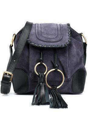 710fd28ed066e See By ChloÉ Woman Polly Leather-Trimmed Tasseled Suede Bucket Bag Purple