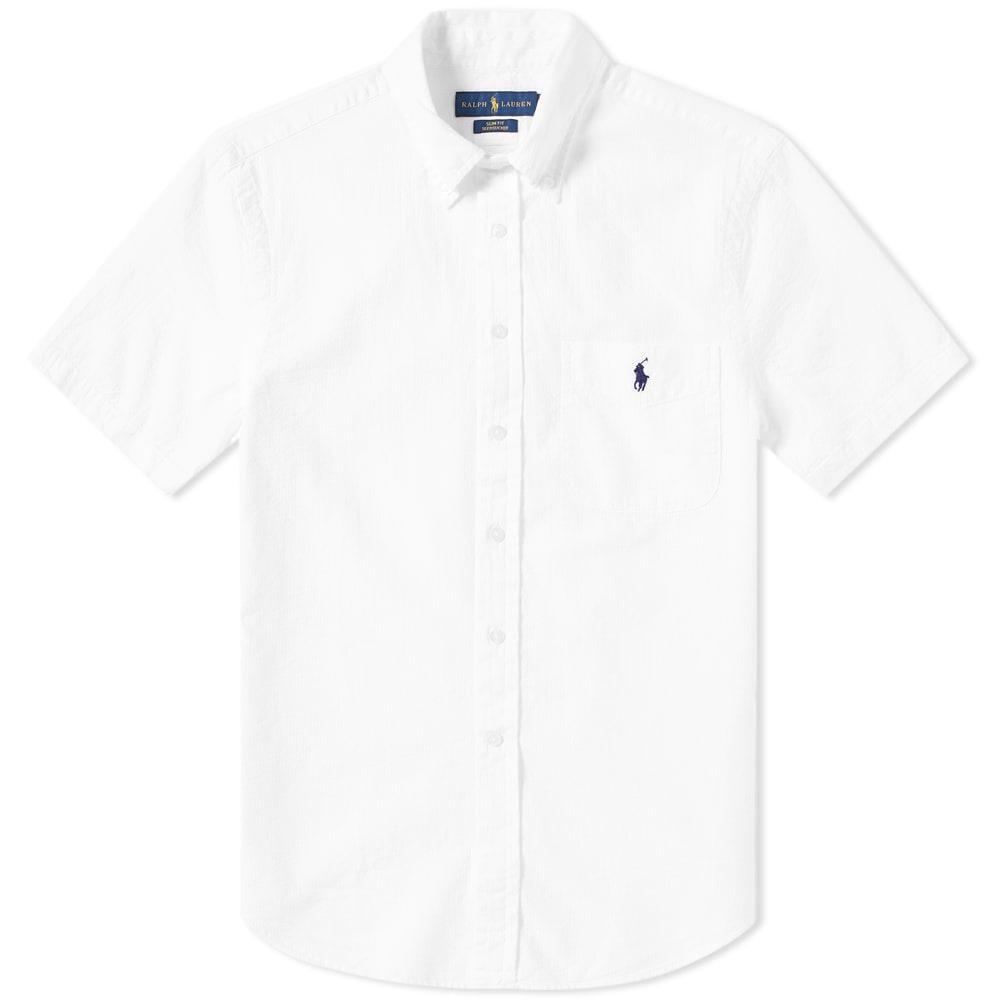 Polo Ralph Lauren Short Sleeve Seersucker Shirt In White Modesens