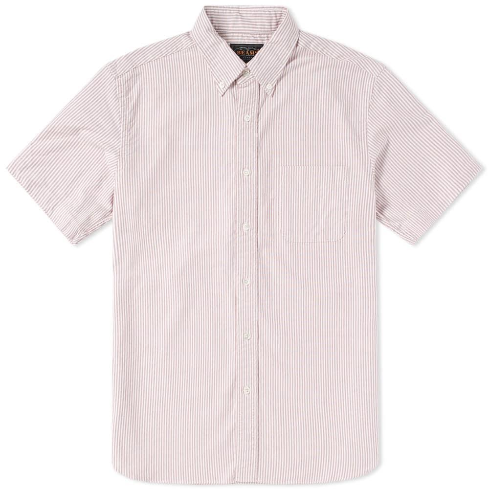 ecadd40fe7d Beams Plus Short Sleeve Oxford Shirt In Burgundy | ModeSens