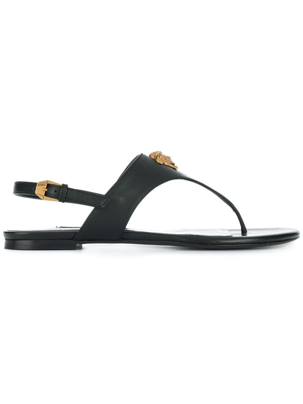 a88a756631c Versace Medusa Crystal Satin Sandals In Black