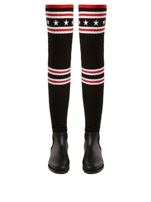 Givenchy Storm Rubber And Ribbed-Knit Thigh Sock Boots In Black