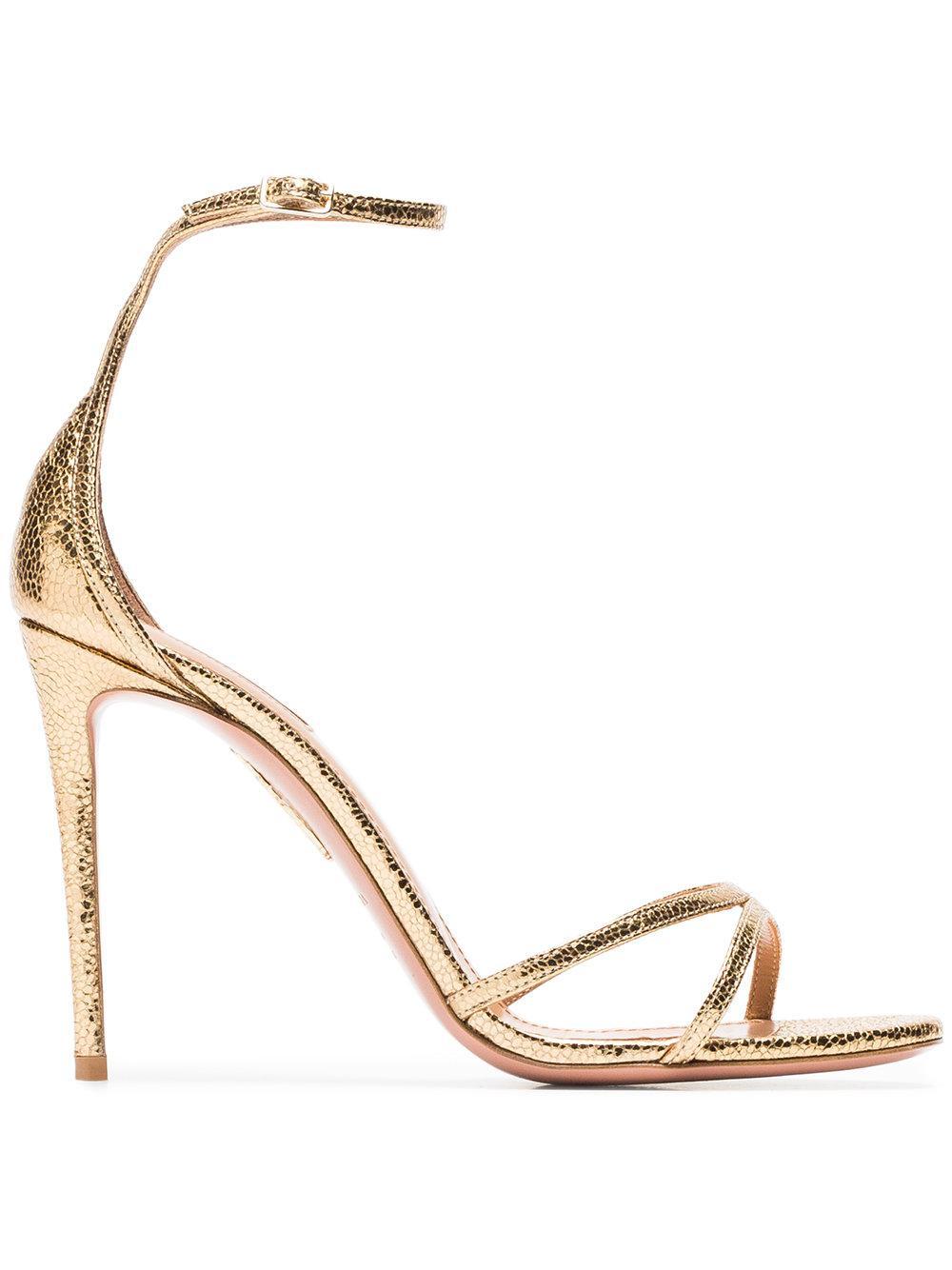 a63889a44 Aquazzura Gold Purist 105 Metallic Leather Sandals
