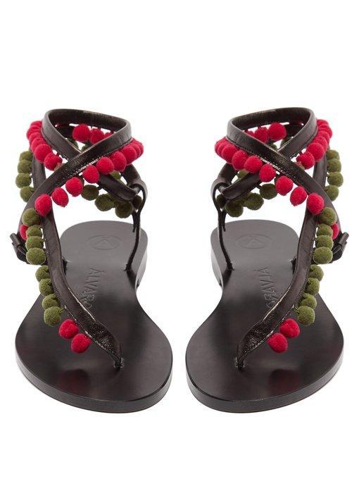 ÁLvaro GonzÁLez ÁLvaro Green Androna Pom Pom Leather Sandals - Black