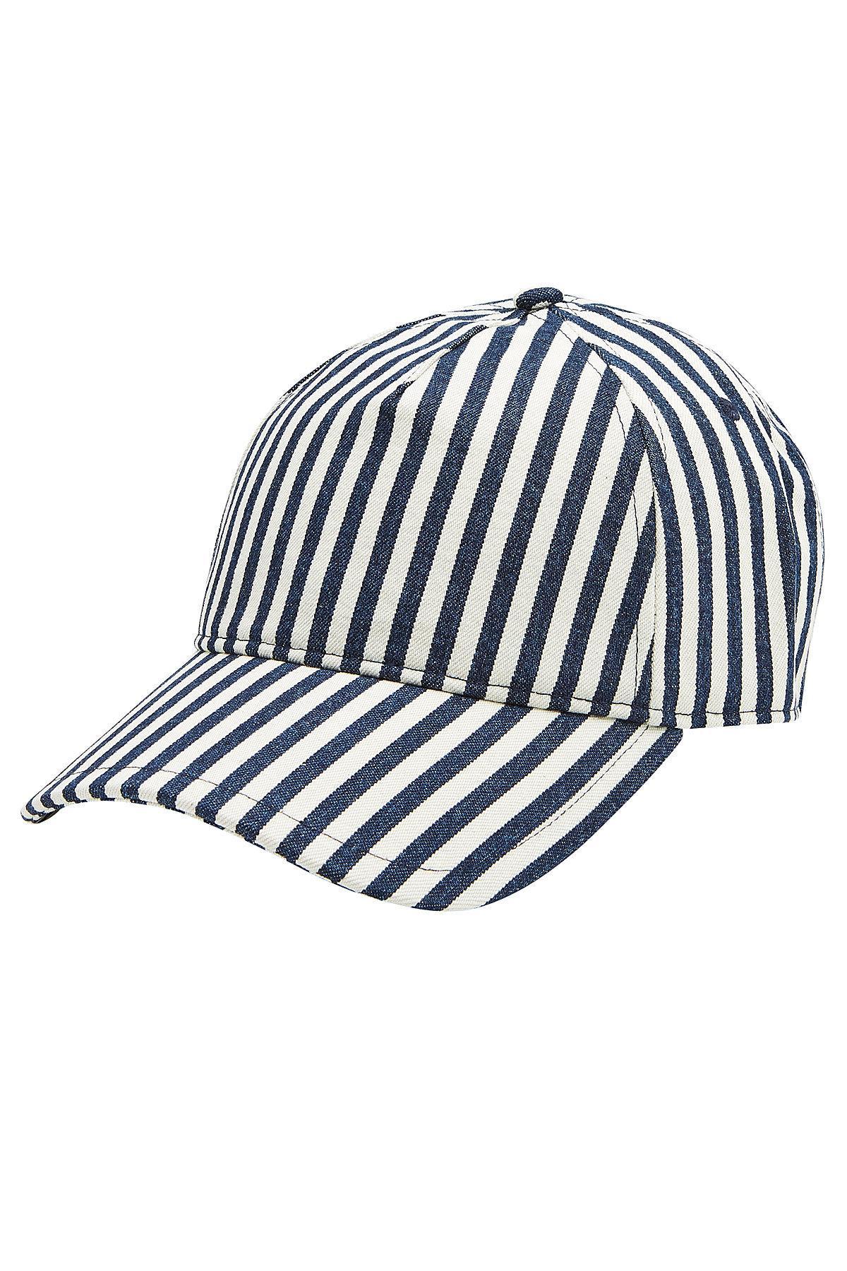 9a0a9a7bce278 Rag   Bone Marilyn Leather-Trimmed Striped Denim Baseball Cap In Navy