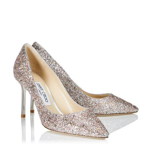 c15b1ee39c8 Jimmy Choo Love 85 Rosewood Painted Glitter Fabric Pointy Toe Pumps In Pink