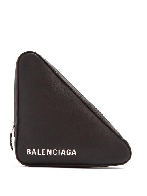 6cd3606020 Balenciaga Triangle Pochette M Leather Clutch In Black White