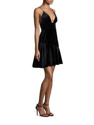 ABS BY ALLEN SCHWARTZ Velvet Ruffle Hem Dress,0400096288963