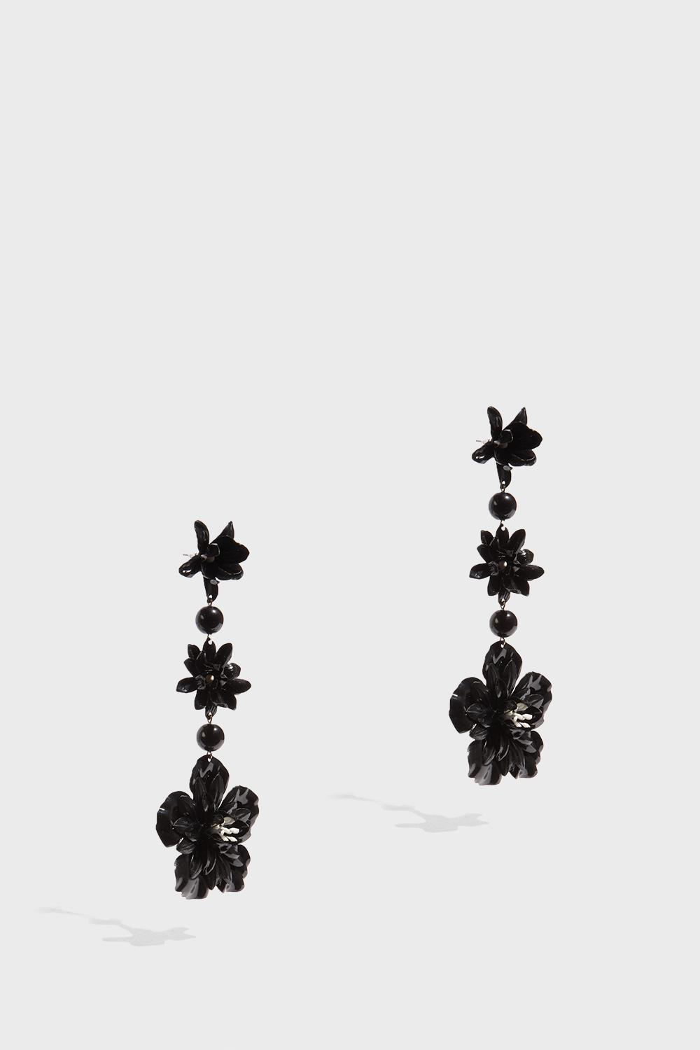 Isabel Marant Aloha Flower And Bead-embellished Earrings In Black