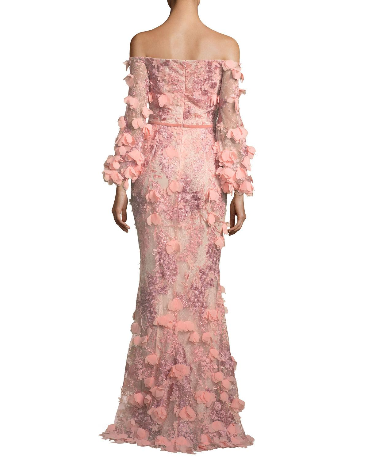 5e76f63df7 Marchesa Notte Off-The-Shoulder 3D Floral Mermaid Evening Gown In ...
