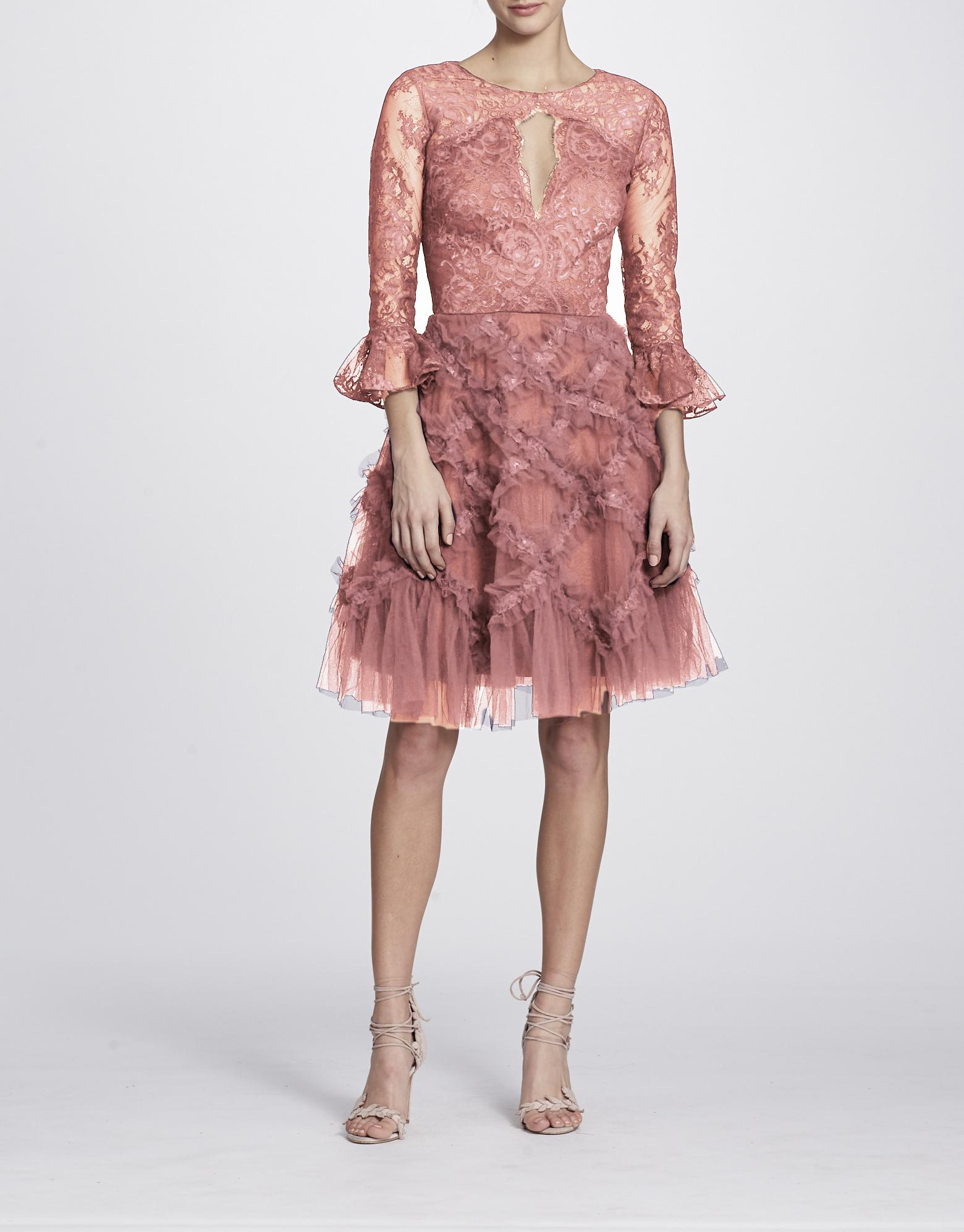 a27cde40bf2 Marchesa Notte Fall Winter 2018 Sleeve Cocktail Dress In Purple ...