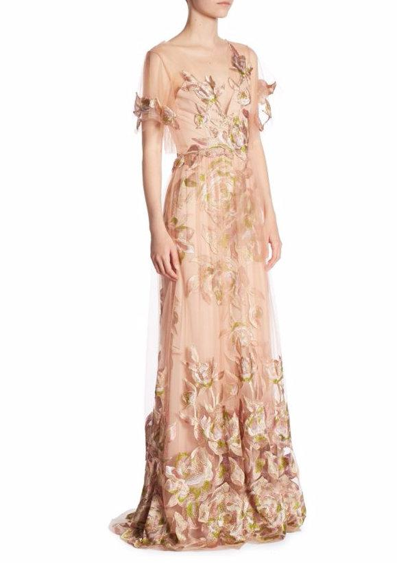 5321a12e3fd Marchesa Notte Embroidered Tulle Flutter Sleeve Evening Gown In Blush