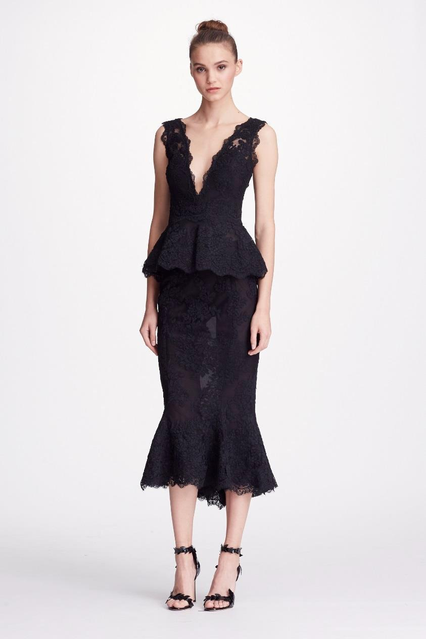 9829869d824f6 Marchesa Couture Black 2-Piece Corded Lace Blouse And Flounce Tea Skirt