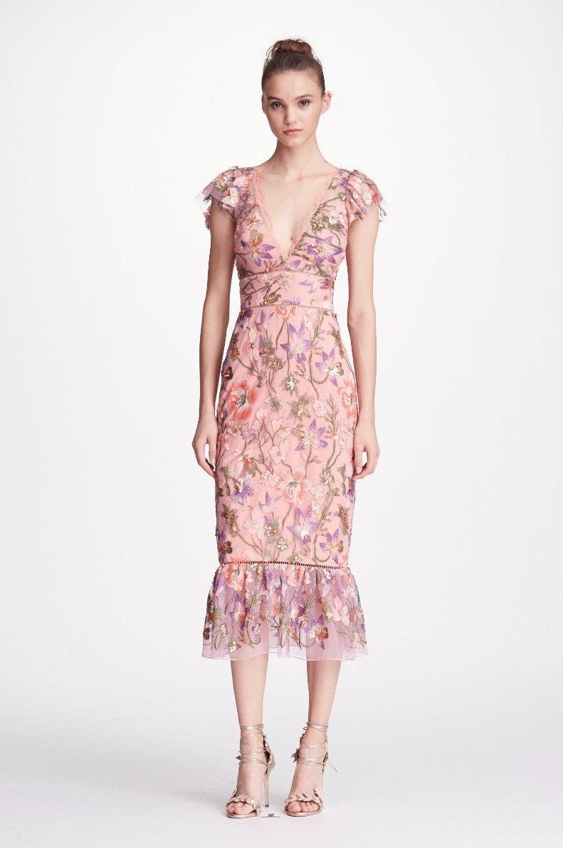 9e08c21d495 Marchesa Notte Pink Cap Sleeve Floral Midi Tea Dress In Lilac