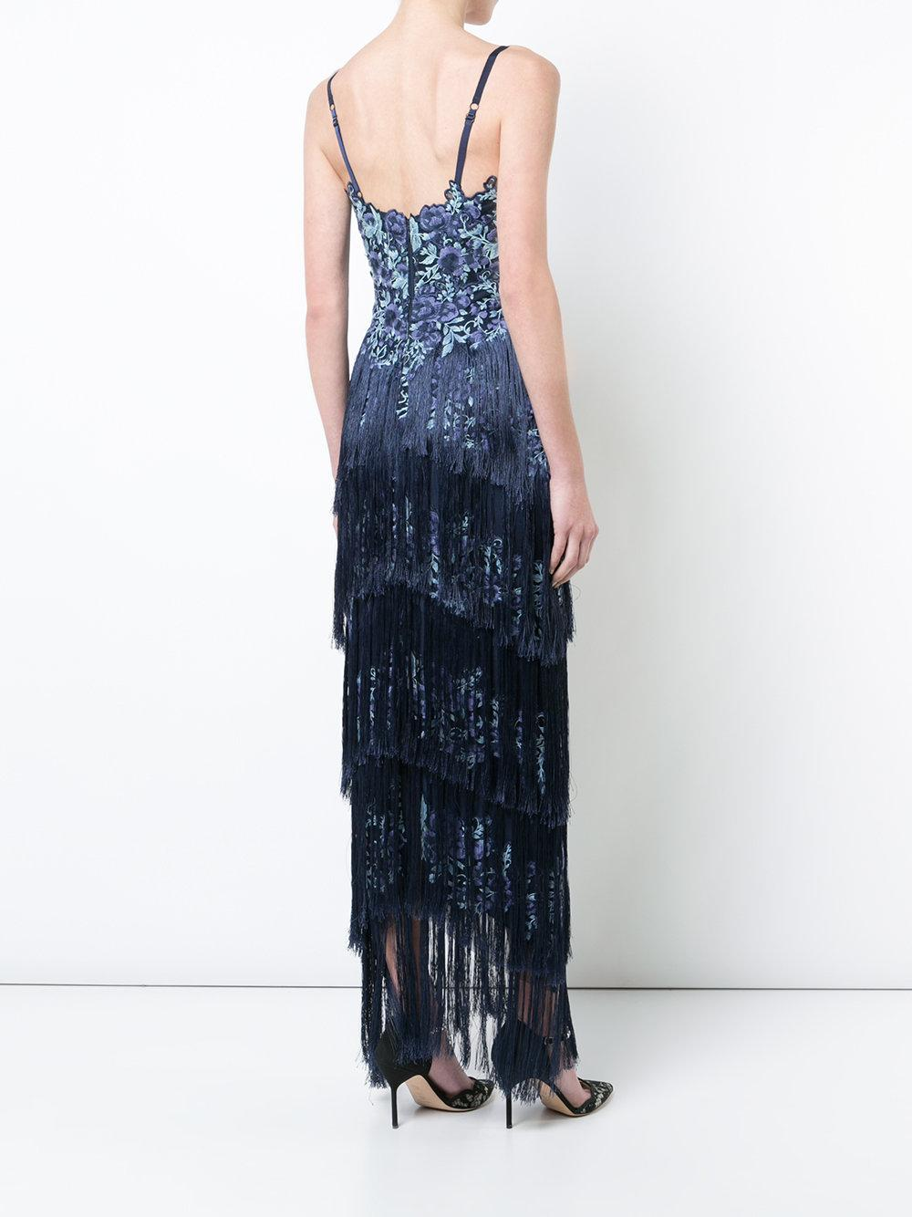 c336048348 Marchesa Notte Blue Sleeveless Embroidered Fringe Gown | ModeSens