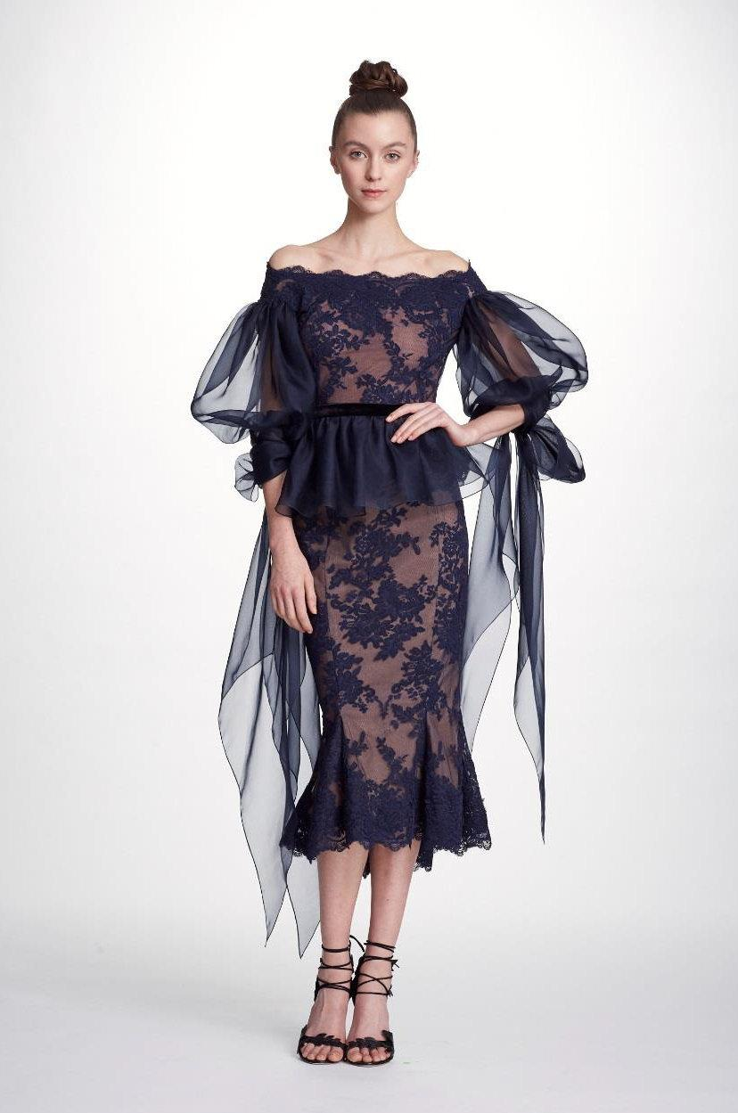 17154415308f2 Marchesa Couture 2-Piece Navy Blue Lace Fit And Flare Midi Tea Dress ...