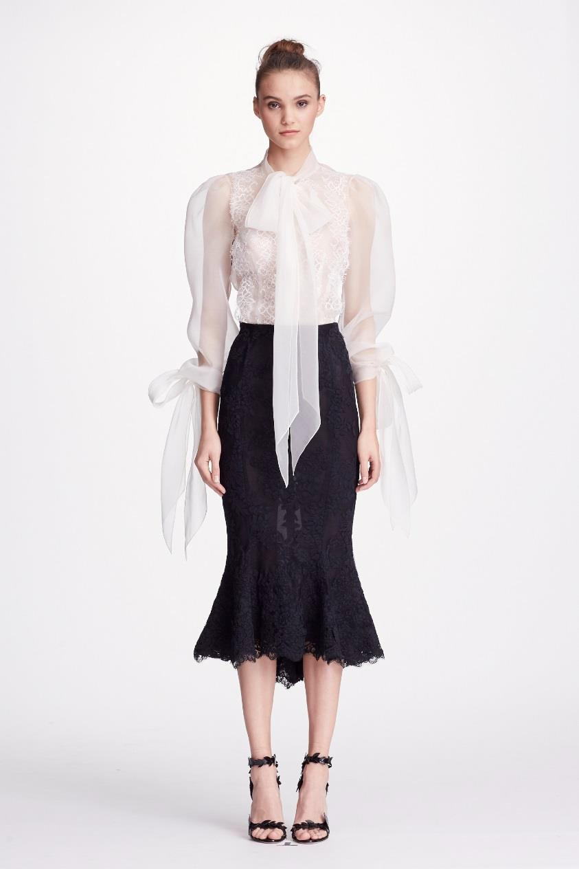 92fc1727b863b Marchesa Couture Black Ivory 2-Piece Silk Organza Blouse And Flounce Tea  Skirt In Black