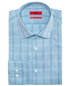 b58baed87 Hugo Boss Men's Slim-Fit Blue Check Dress Shirt In Open Blue | ModeSens