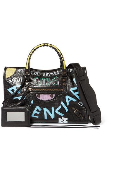 Balenciaga Classic City S Arena Graffiti Small Leather Shoulder Bag In Black 4c0bda9679dde