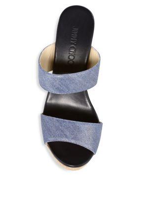 a17e801c53d Jimmy Choo Women s Parker 100 Denim Cork Wedge Slide Sandals In Dusk Blue