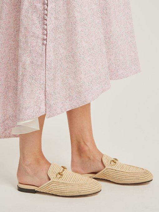 219472fe5c8 Gucci Princetown Raffia Backless Loafers In 9780 Beige