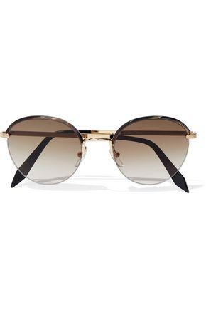 e1c2ff31672f Victoria Beckham Woman Windsor Round-Frame Marbled Acetate And Gold-Tone  Sunglasses Dark Brown