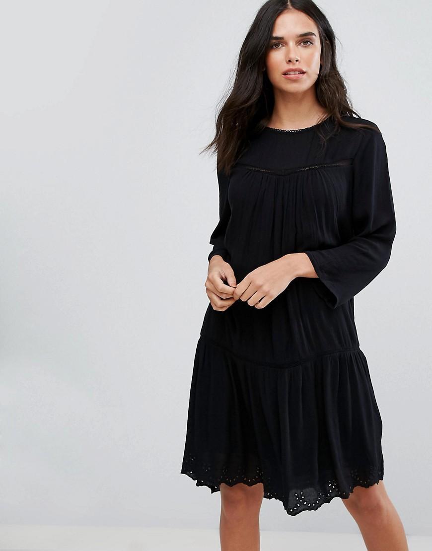 ef2585ea8ba Rise Sleeve Mini Dress With Lace Insert In Black - Black