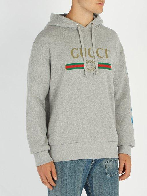 5f42df6d5d71 Gucci Dragon-Embroidered Cotton French Terry Hoodie In 1111 Grey ...