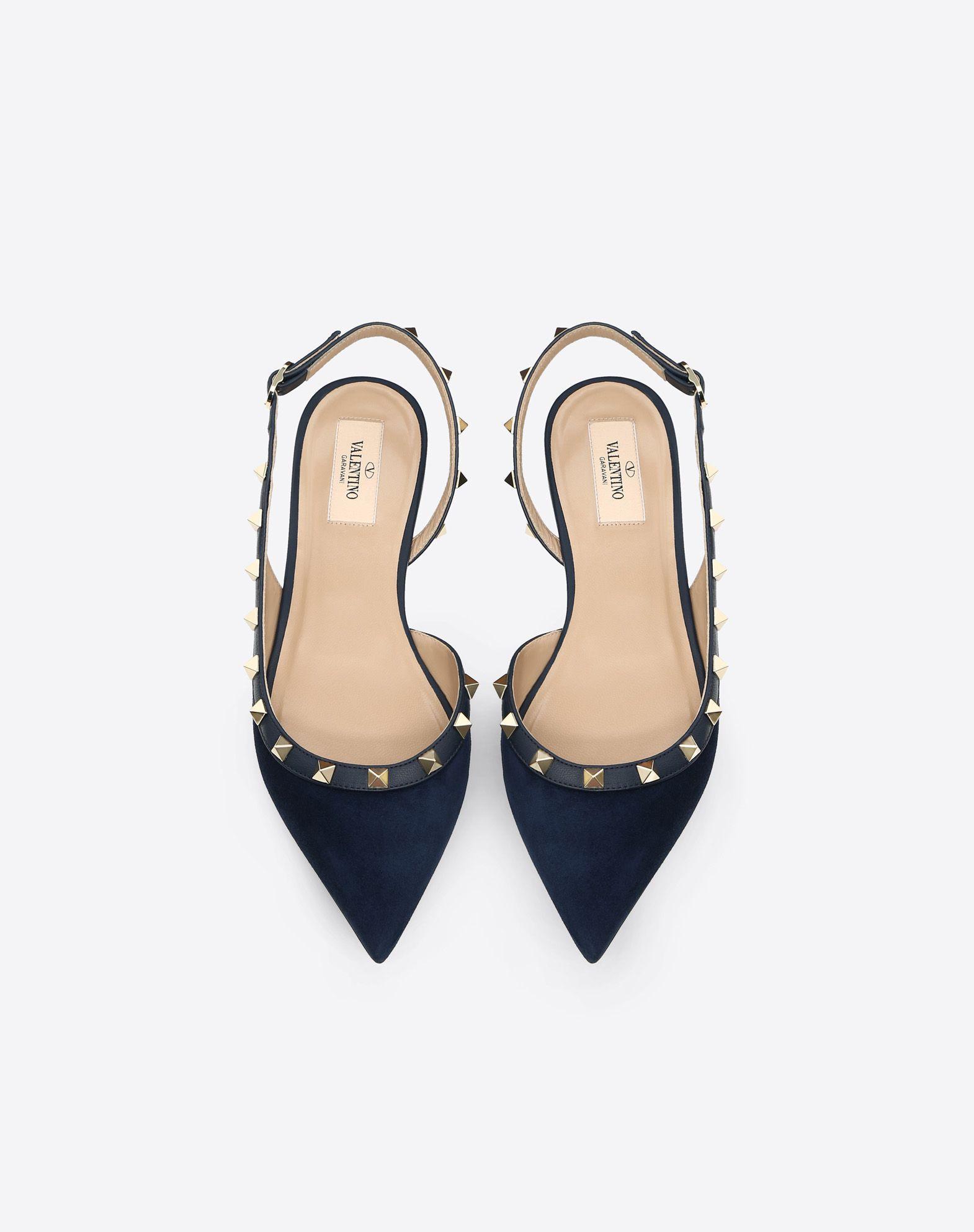 28c8fa9afe170 Valentino Rockstud Suede Slingback Ballet Flats In Navy   ModeSens