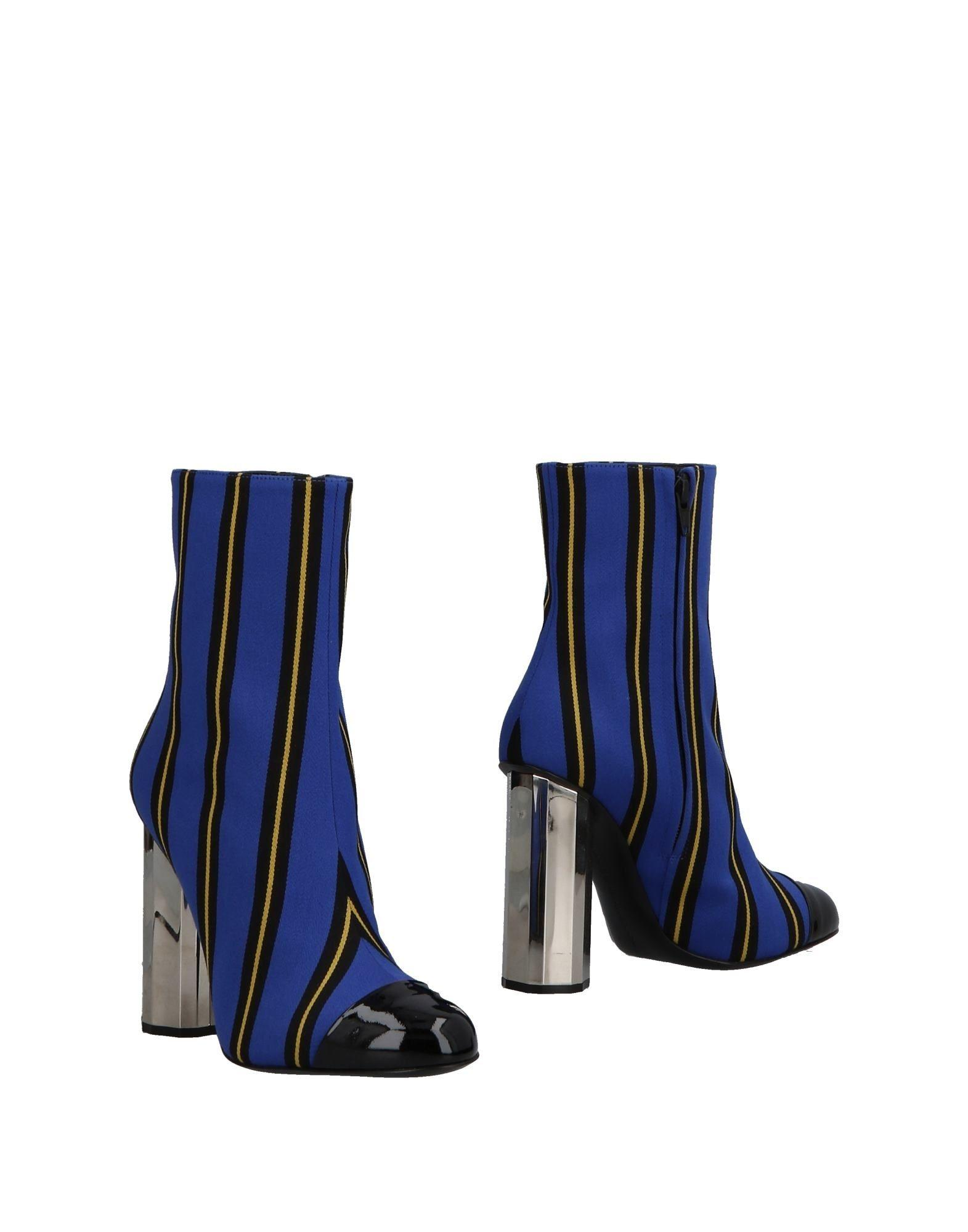 cheap for discount find workmanship popular style Woman Striped Coated Canvas Ankle Boots Bright Blue