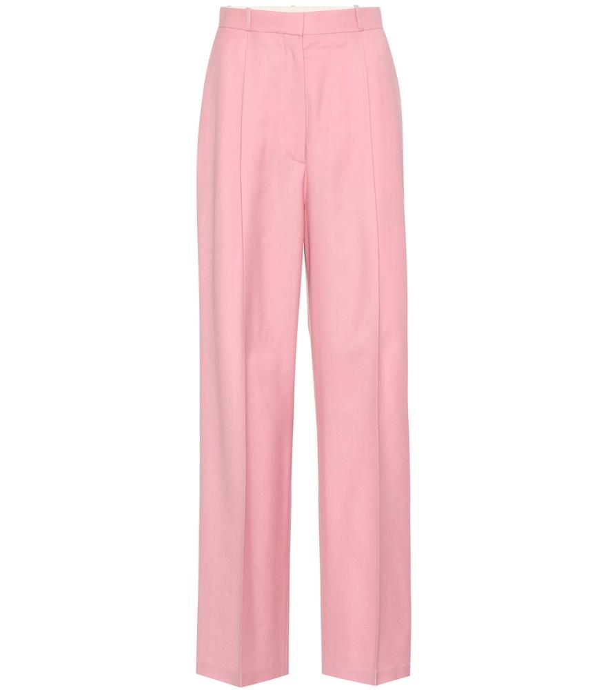 The Row Elin High-Waist Wide-Leg Wool Pants In Baby Pink