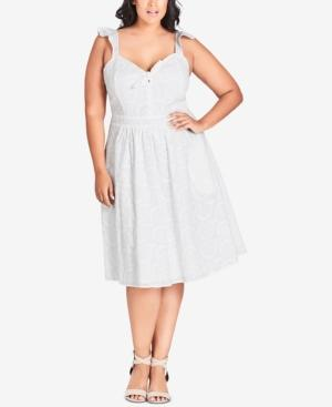 City Chic Trendy Plus Size Cotton Lace Dress In White | ModeSens