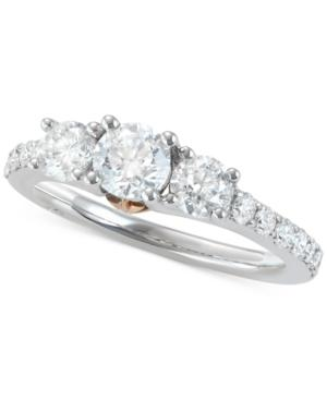 Marchesa Diamond Two-Tone Engagement Ring (1-1/2 Ct. T.W.) In 18K White & Rose Gold In White/Rose Gold
