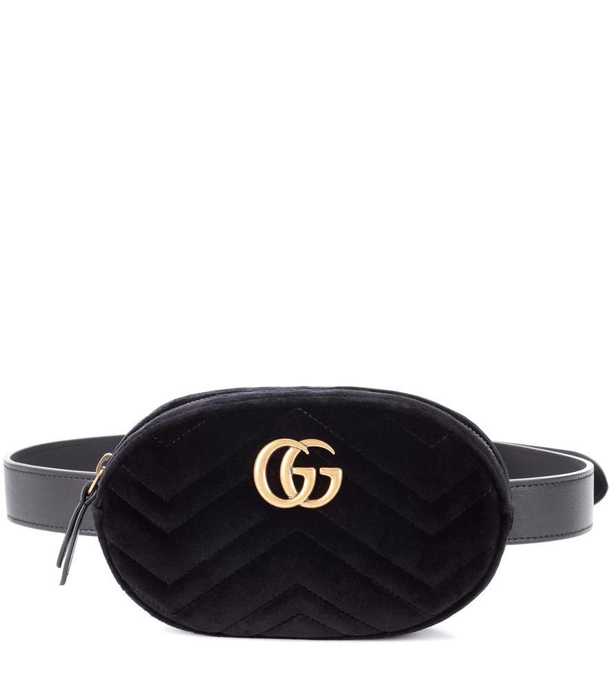 2a1948171dd Gucci Small Gg Marmont 2.0 Velvet Belt Bag In 1000 Black