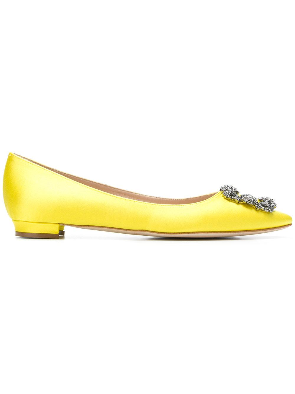 2b34be11ce396 Manolo Blahnik Hangisi Crystal-Buckle Satin Flats In Yellow | ModeSens