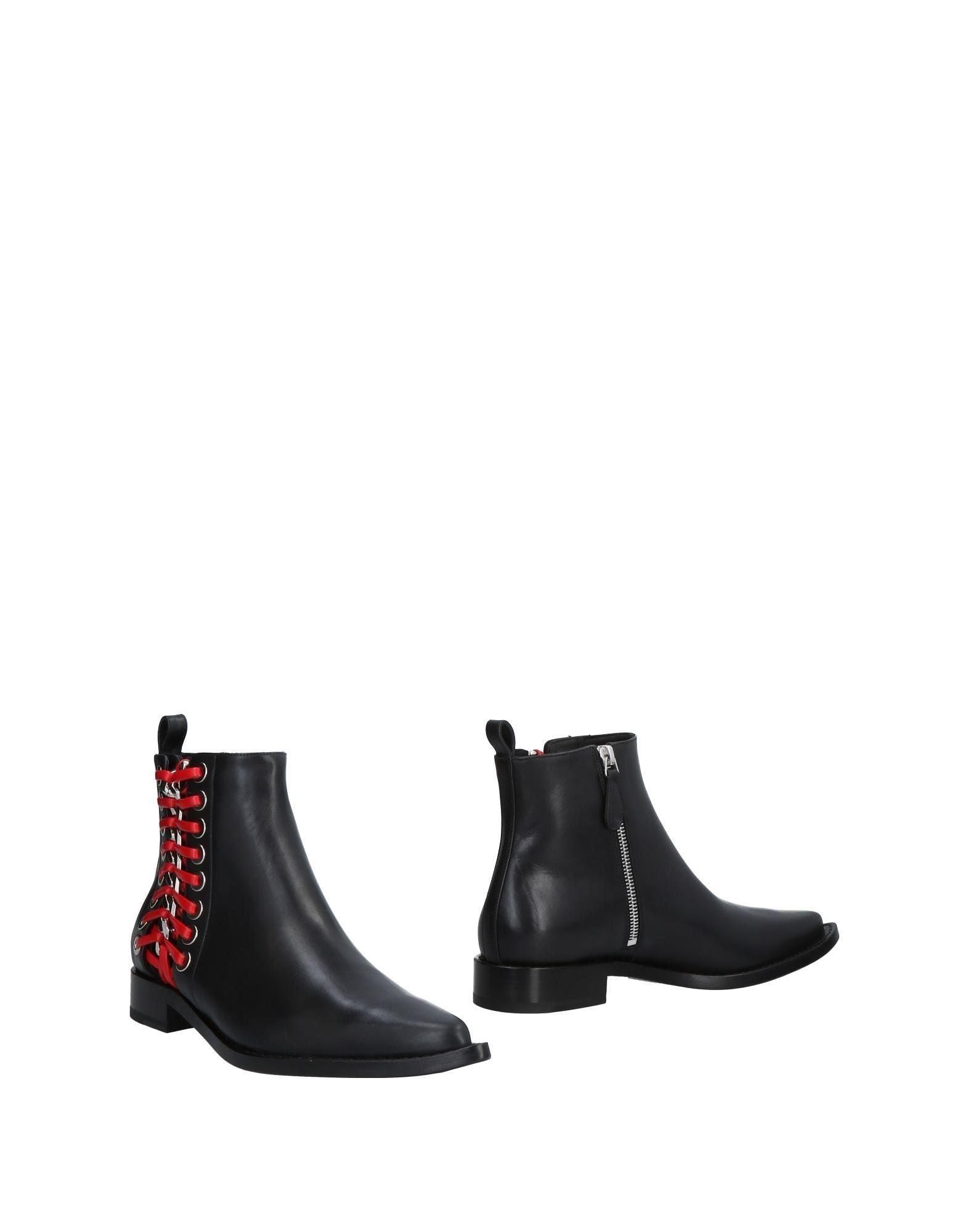 Alexander Mcqueen Leather Ankle Boots With Lace-Up Side In Black