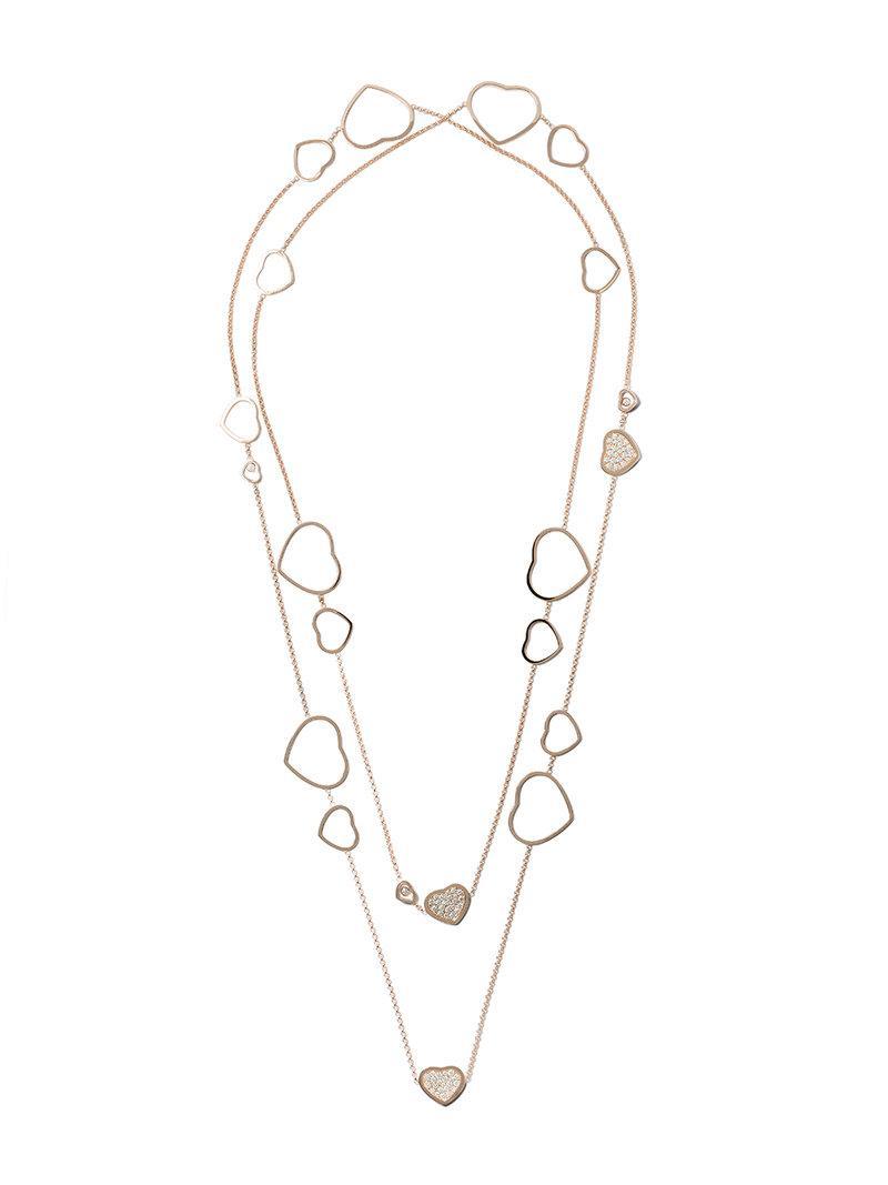 358cf27745c7f4 Chopard 18Kt Rose Gold Happy Hearts Diamond Sautoir Necklace   ModeSens