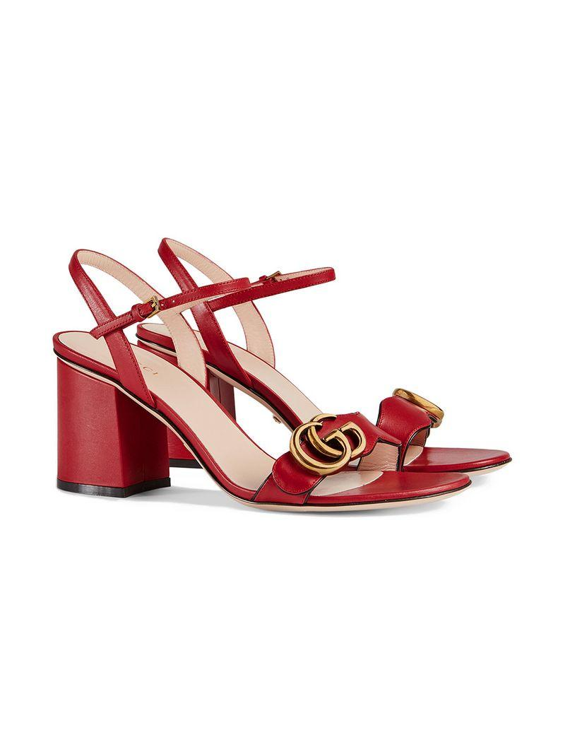 06079a25ba0c Gucci Marmont Logo-Embellished Leather Sandals In Red
