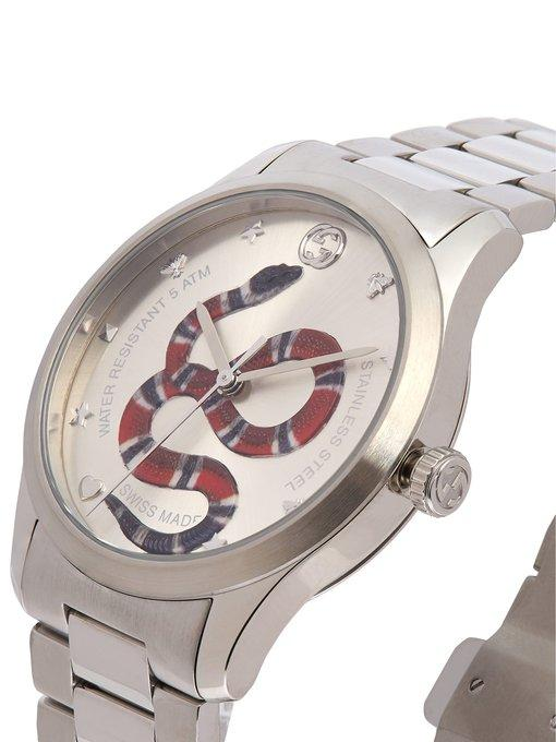 0ef0896e01a Gucci G-Timeless Snake-Dial 38Mm Stainless Steel Watch - Silver - One Siz