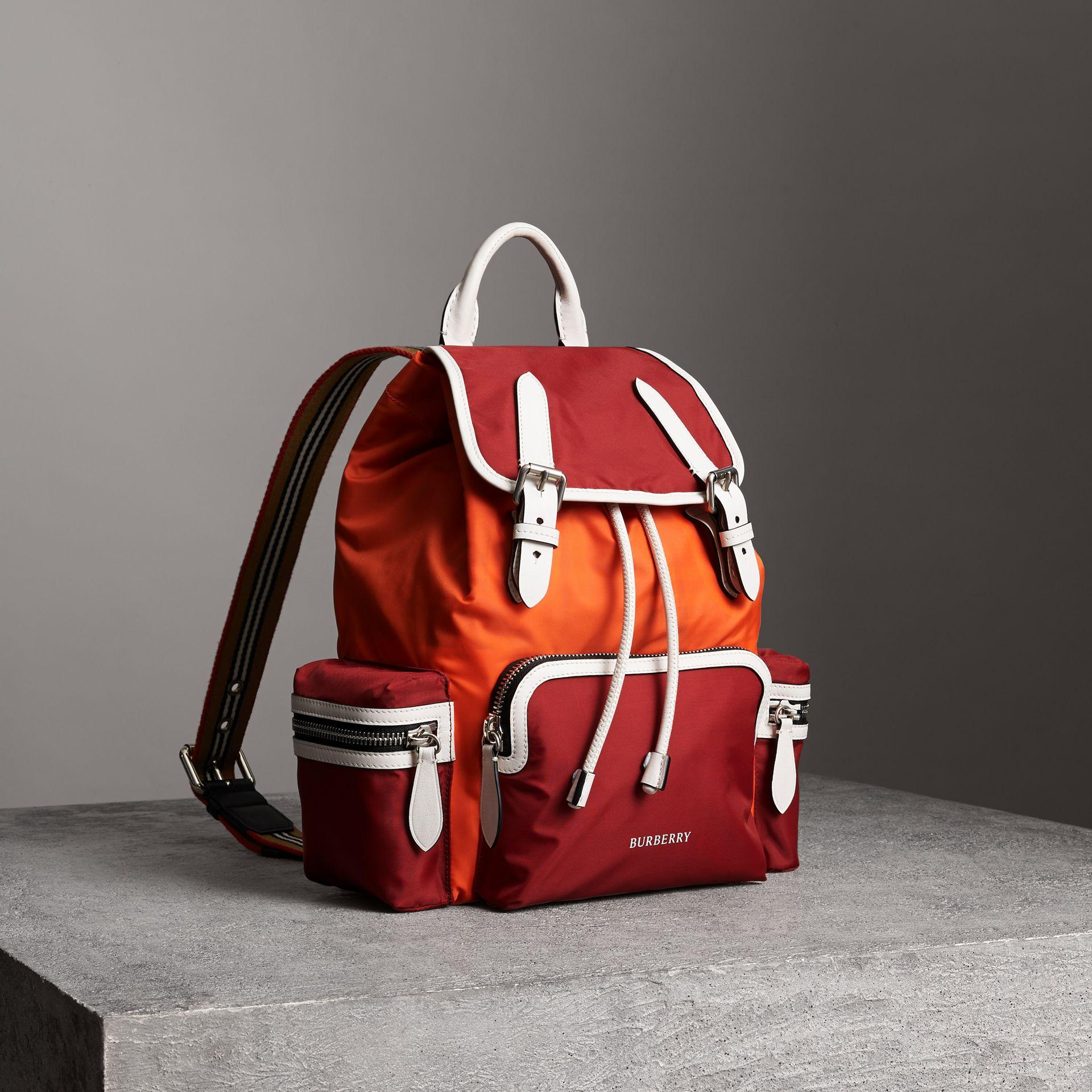 641a4016a7e Burberry The Medium Rucksack In Colour Block Nylon In Red | ModeSens