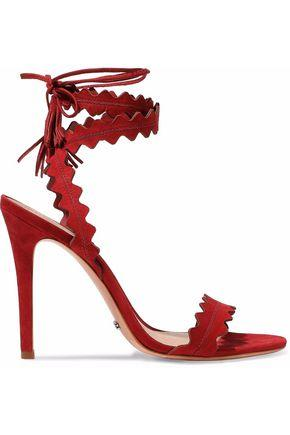 31b2669fe28 Schutz Woman Lisana Lace-Up Scalloped Suede Sandals Red