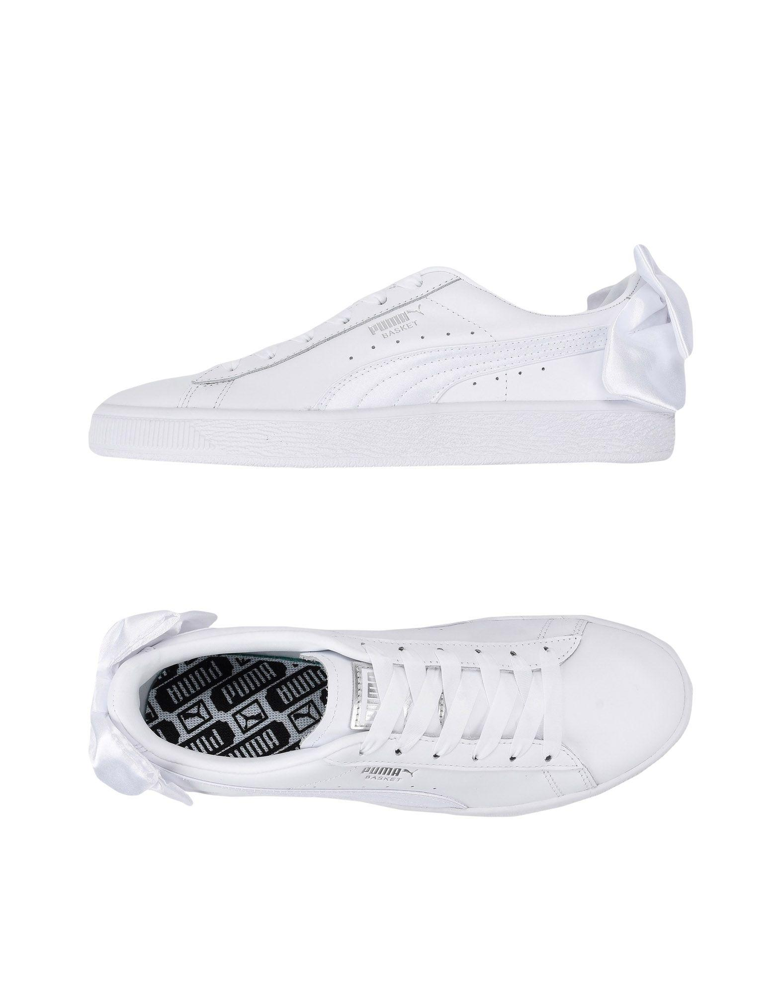 Suede Bow Sneakers In White - White